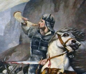 Roland at the Battle of Roncesvalles Louis Guesnet A. Closs, Bataille de Roncevaux, Roland in der Schlacht zu Roncesvalles